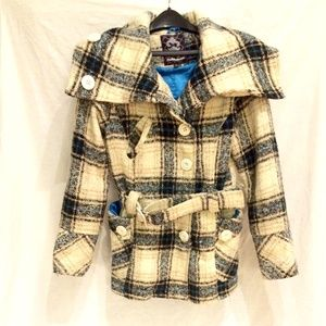 Dollhouse Black, Ivory, Blue Striped Coat M